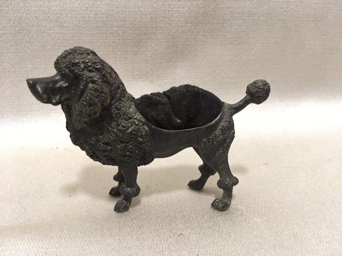 Ancien Essuie Plume En Bronze Chien Caniche écriture Bureau
