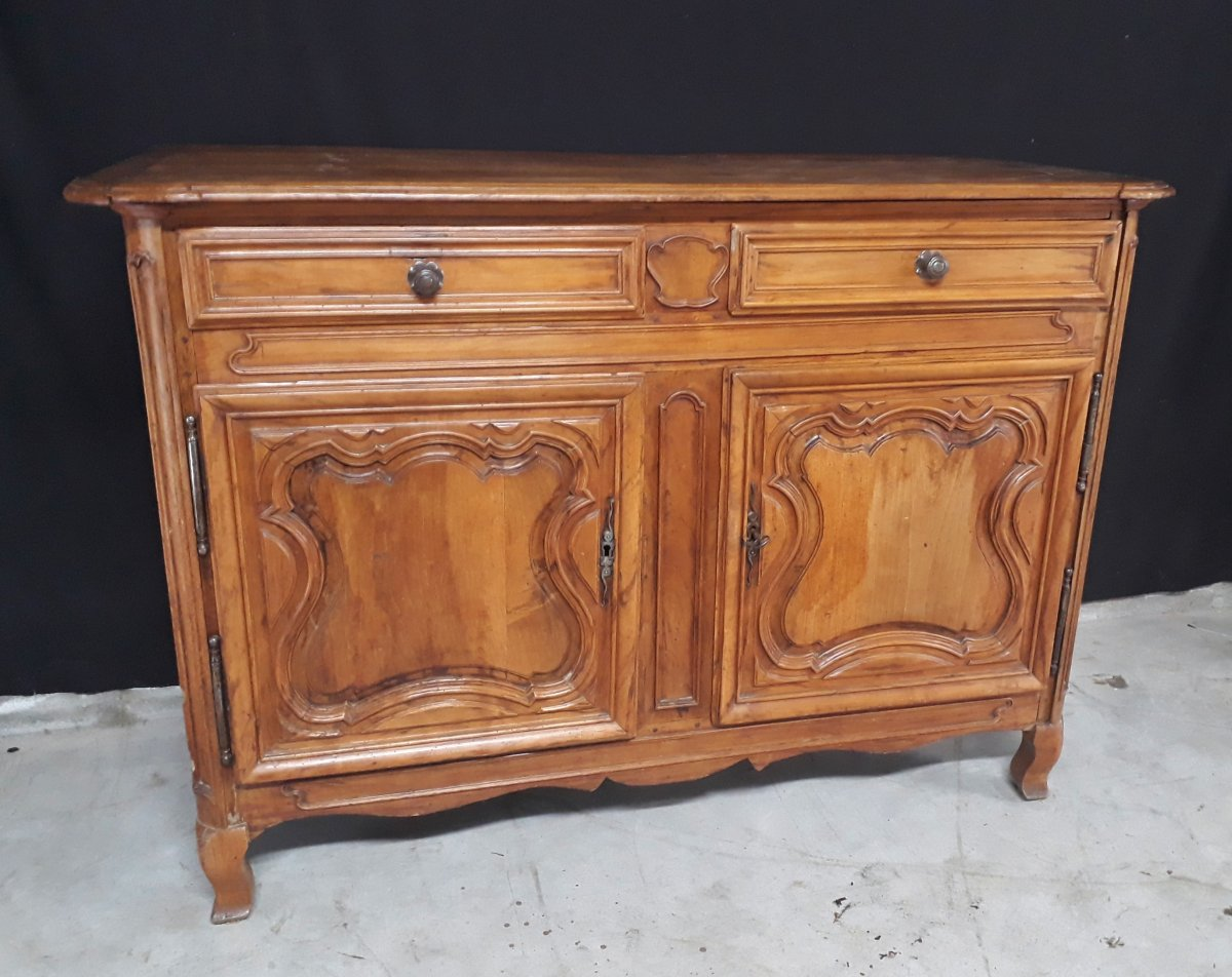 Buffet 18th 2 Doors Louis XIV - Regency Sideboard In Natural Wood