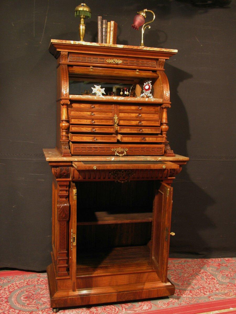 Meuble de Dentiste Archer ancien  en noyer métier horloger médaillier cabinet-photo-3