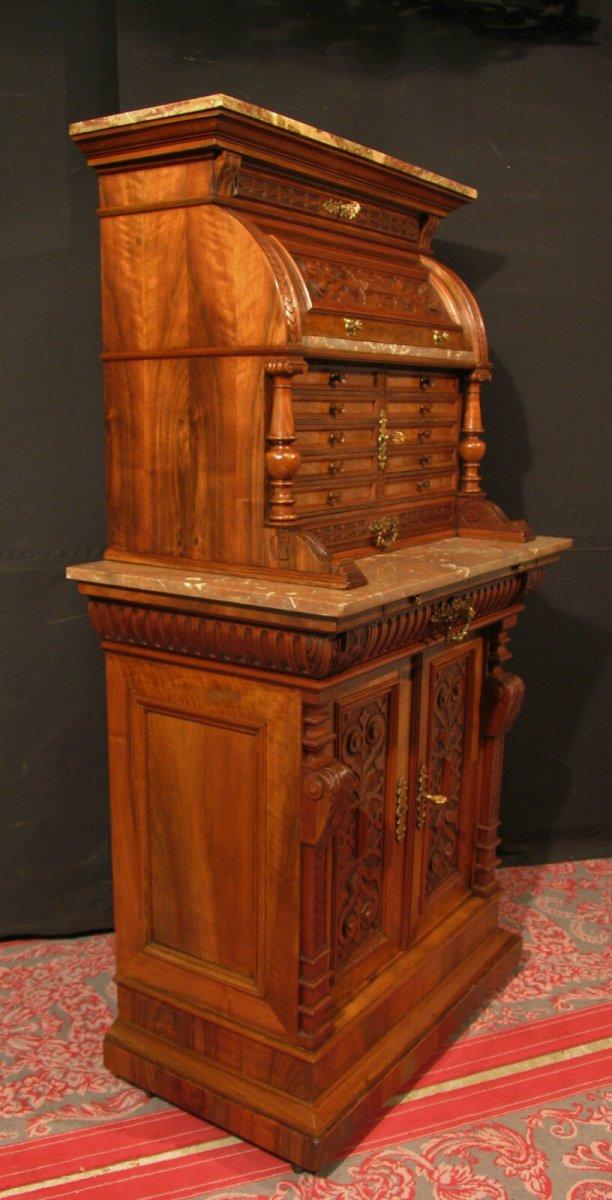 Meuble de Dentiste Archer ancien  en noyer métier horloger médaillier cabinet-photo-5