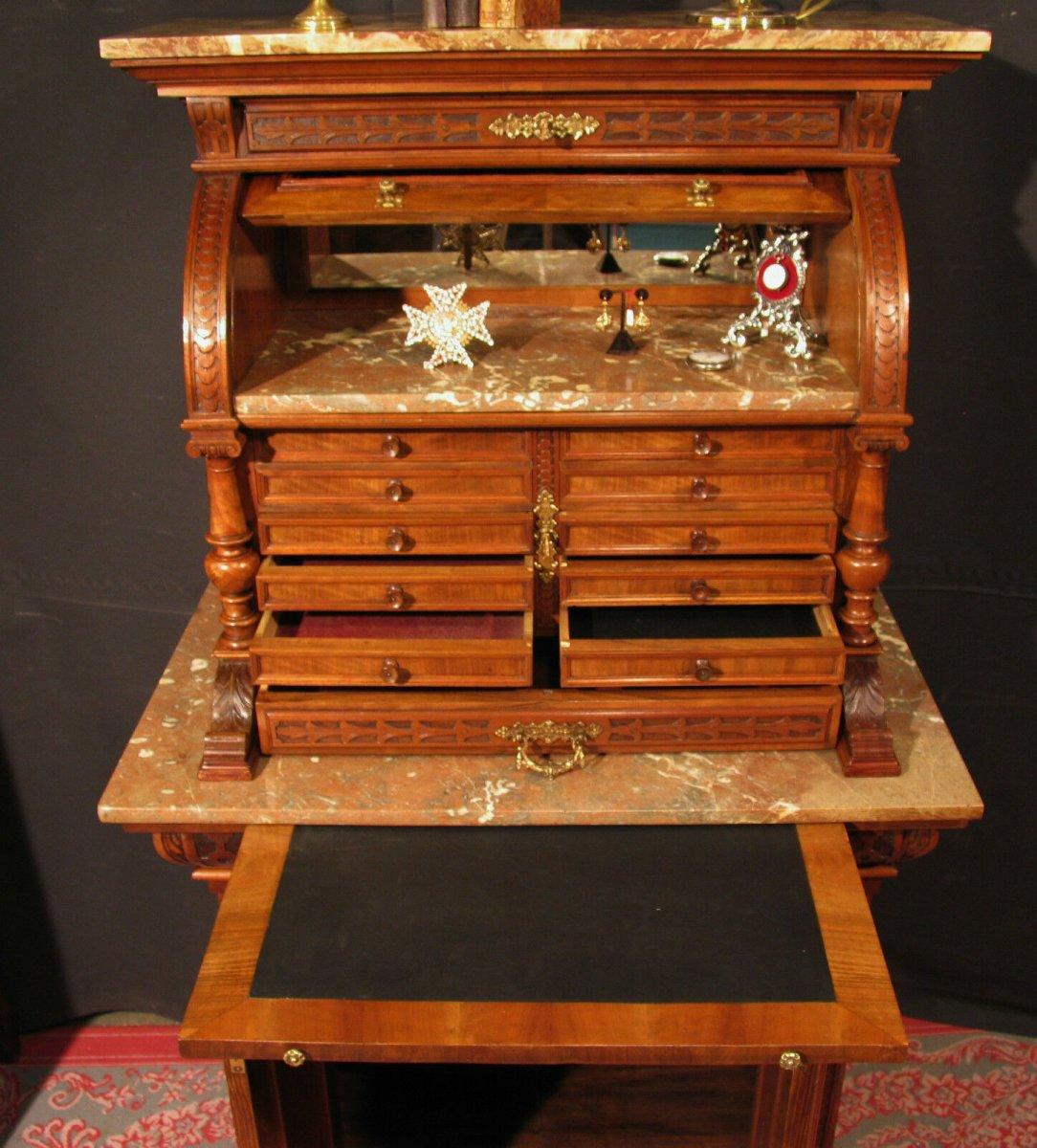 Meuble de Dentiste Archer ancien  en noyer métier horloger médaillier cabinet-photo-6
