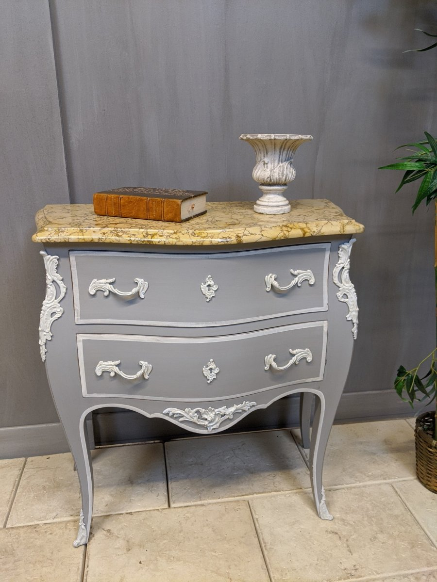 Small Louis XV Style Commode In Gray Patinated Wood, Curved Saute