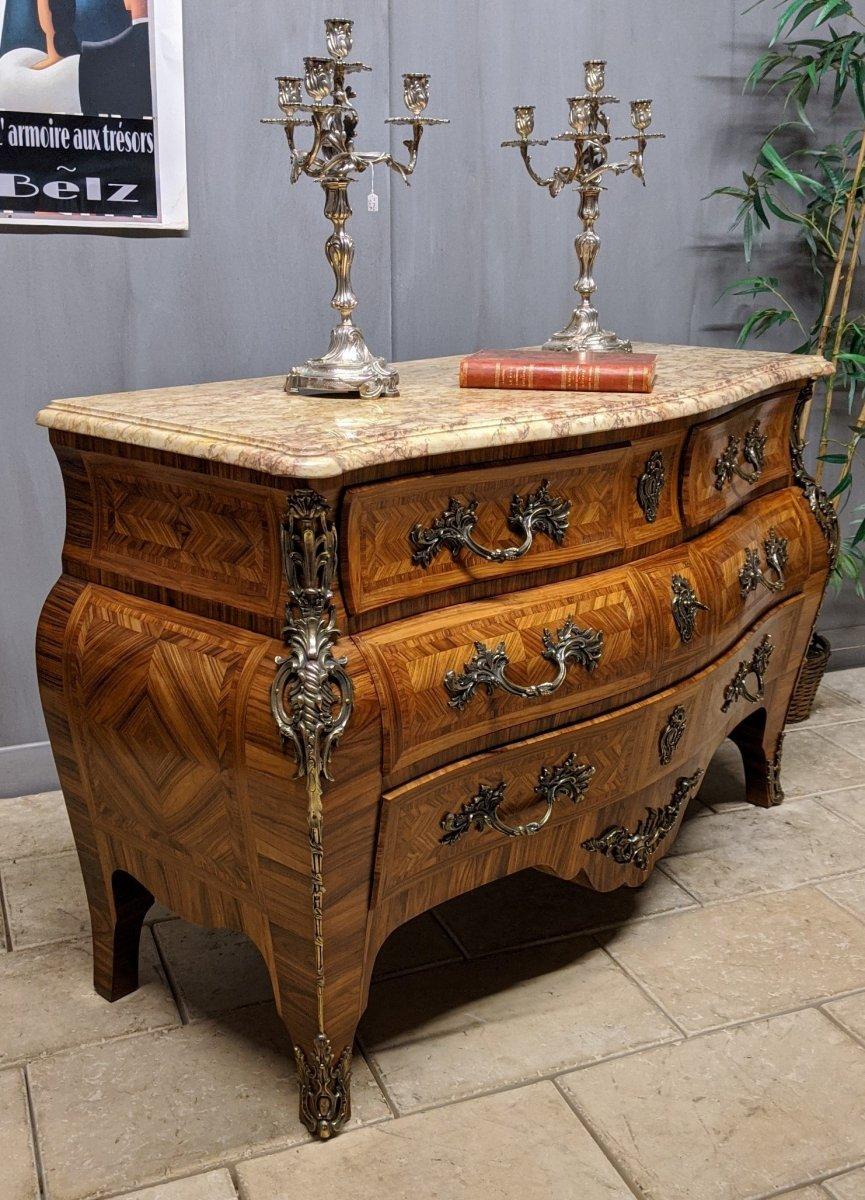 Commode Style Louis XV- RÉgence Galbée Marquetée Bois De Violette Tombeau