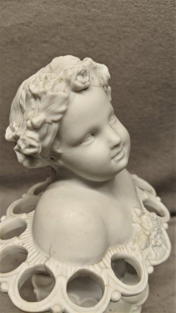 Chérubin En Biscuit   Statue Enfant Ange Angelot  Cherubin Porcelaine-photo-3