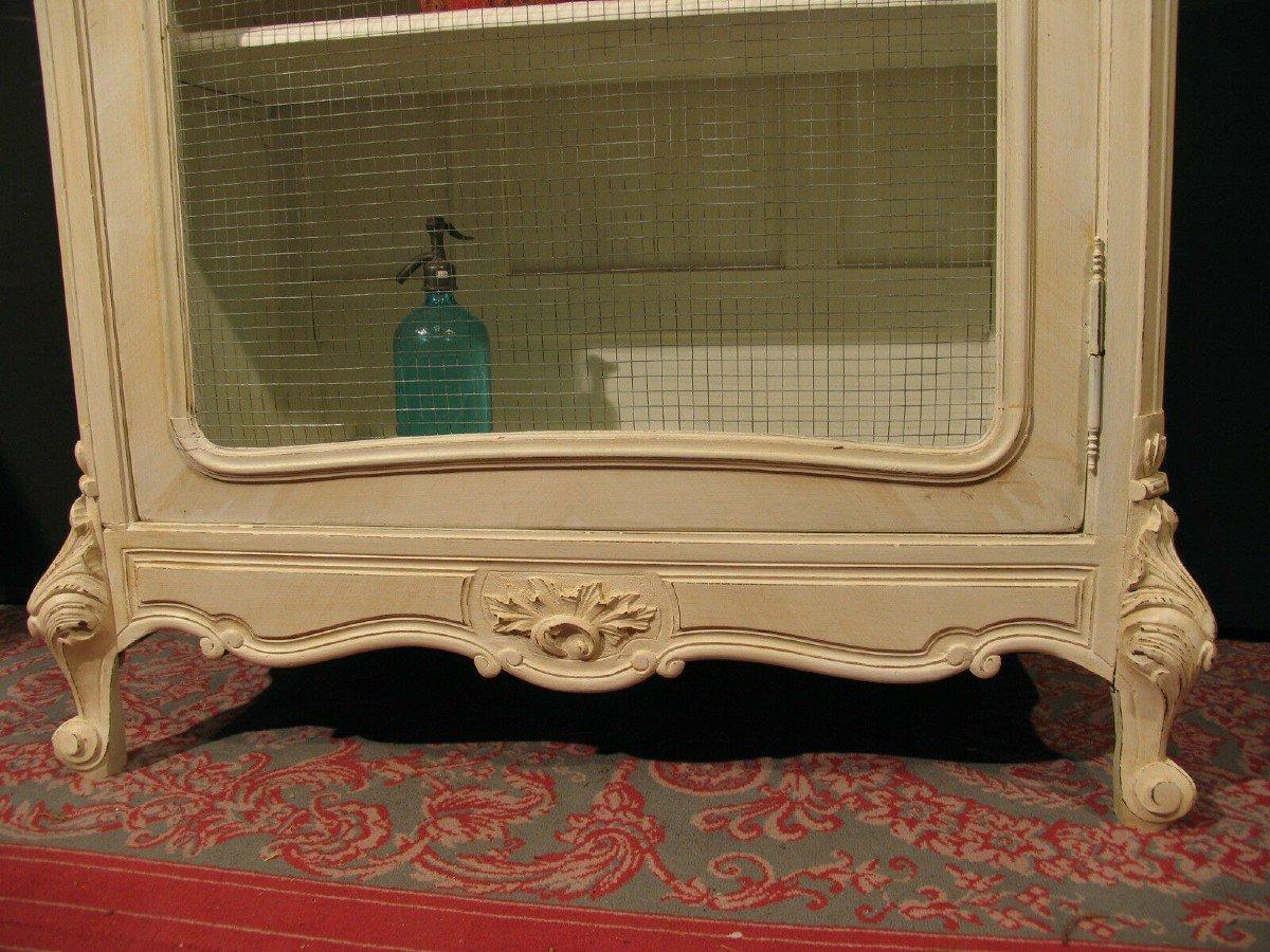 Vitrine De Style Louis XV Rocaille Patine Shabby Blanc Cassé Armoire-photo-5