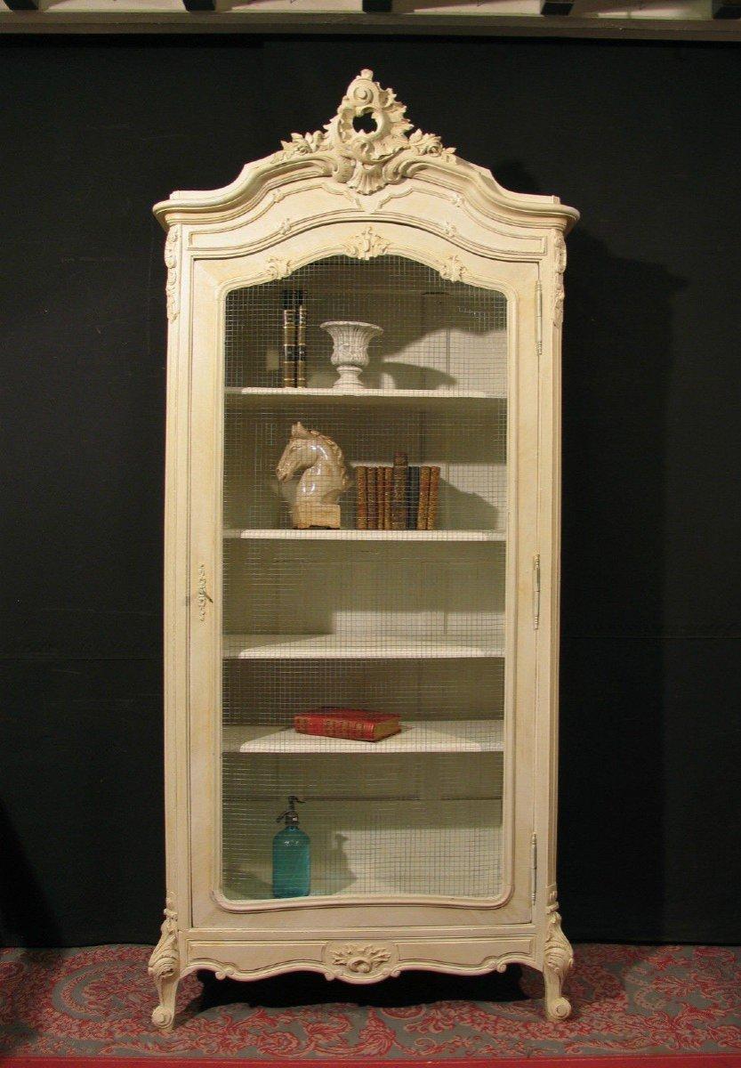 Vitrine De Style Louis XV Rocaille Patine Shabby Blanc Cassé Armoire