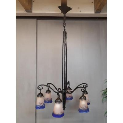 Large Chandelier 6 Marble Glass Tulips Signed Degué Wrought Iron