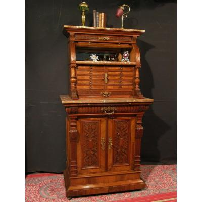 Antique Archer Dentist's Furniture Clockmaker's Medal Cabinet In Walnut