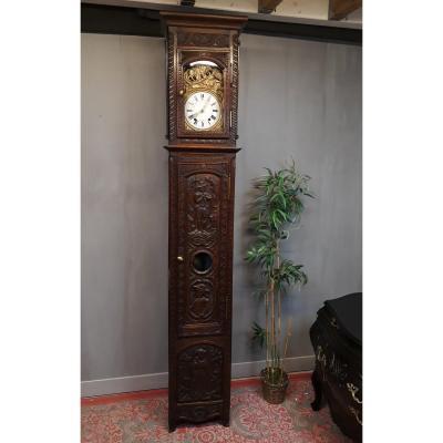 Horloge Comtoise Bretonne 19 ème Sculptée De Personnages Bretons Meuble