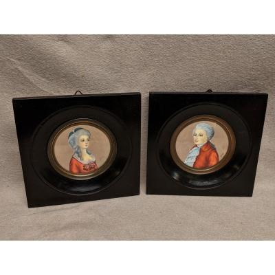 2 Miniatures On Ivory Young Couple Man And Woman Black Frame