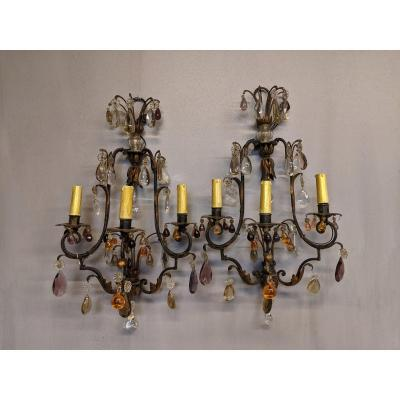 Pair Of Italian Wall Lamps Colored Tassel And Iron