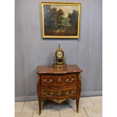 Commode d'époque Louis XV estampillée Flechy   Jme bois de violette 18 ème