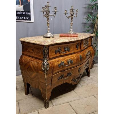 Louis XV Style Commode - Galbée Régence Inlaid Violet Wood Tomb