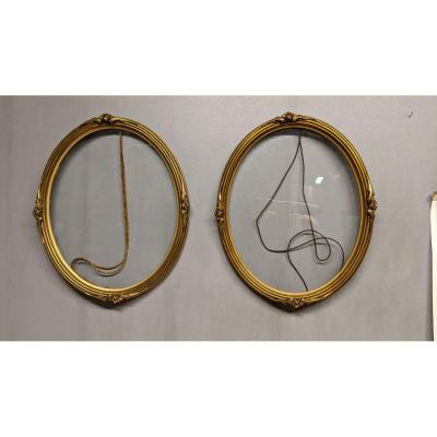 Pair Of Oval Golden Frames In Golden Wood