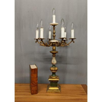 Lampe Girandole Vénitienne En Bois Peint et bronze