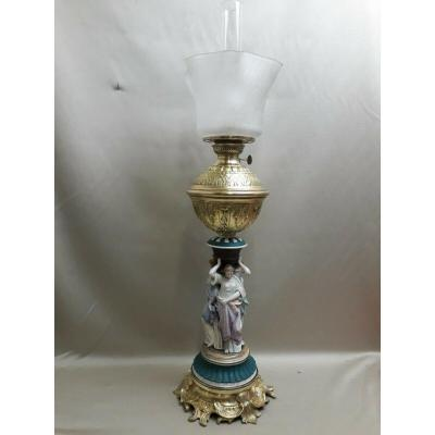 Large Oil Lamp In Muses Porcelain And Napoleon III Bronze