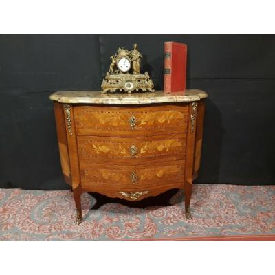 Commode Style Transition Galbée Demie Lune Louis XV - XVI Bois De Rose