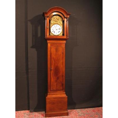 Horloge De Parquet Comtoise 19èm Acajou Blond Noyer d' Auray Vendanges