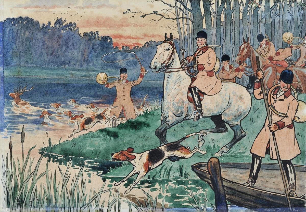 Harry Eliott (1882-1959), Chasses à Courre, Plume Et Aquarelle