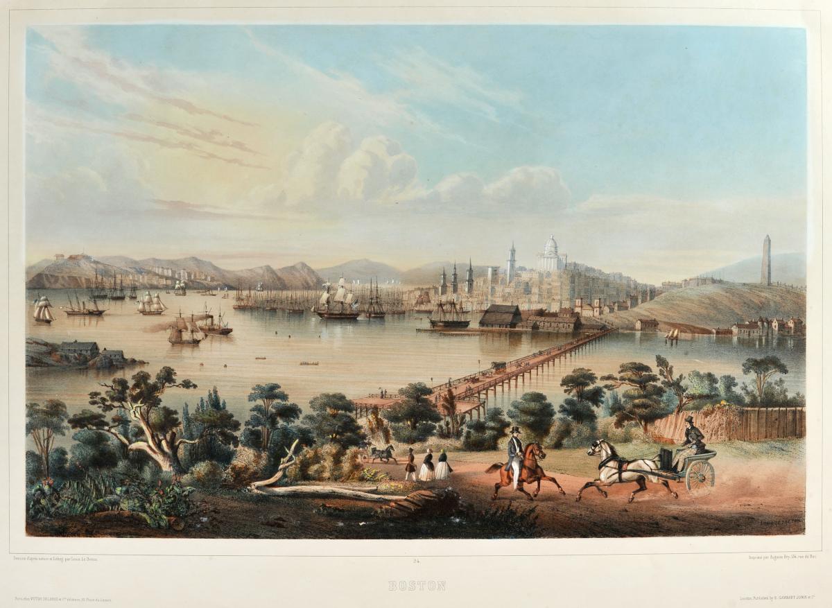 Louis Le Breton (1818-1866), Boston, Lithographie En Coloris d'époque