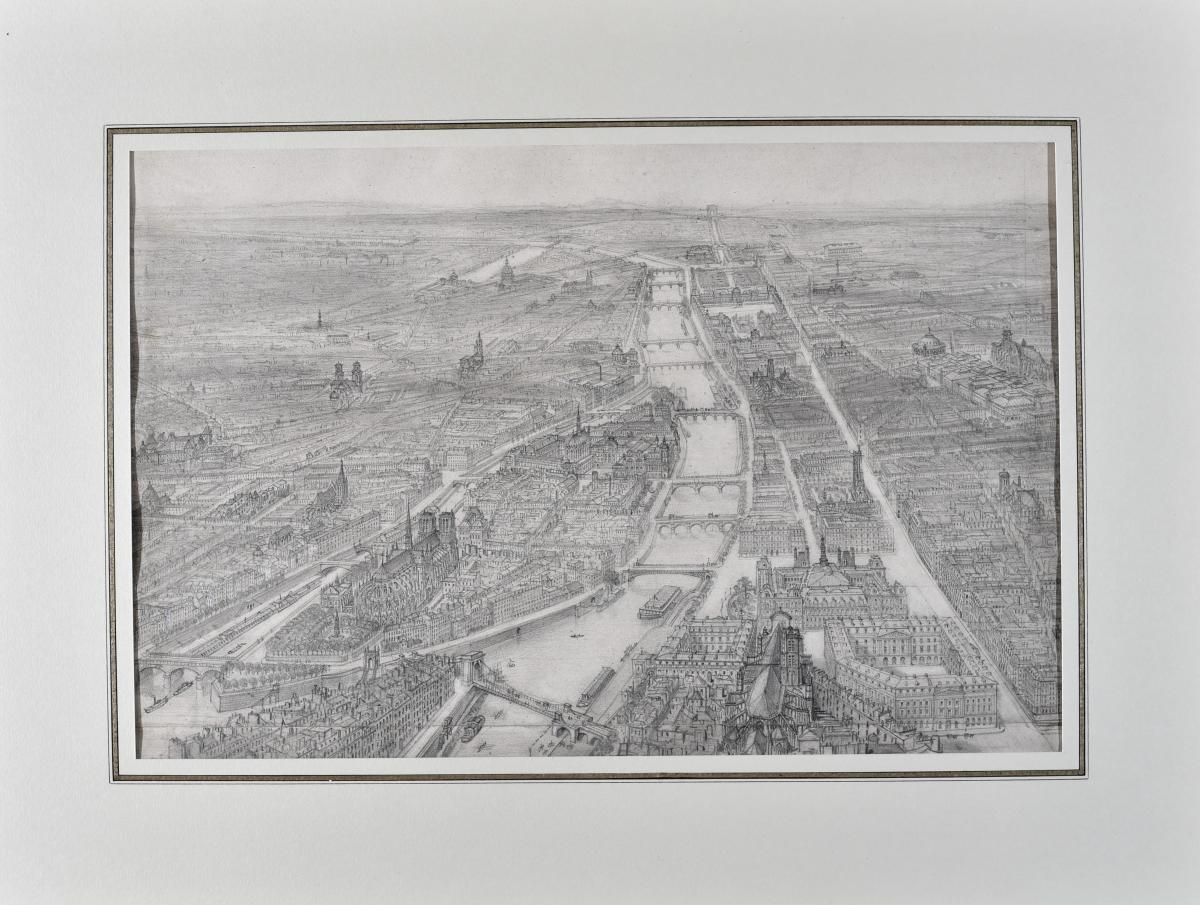 Félix Benoist (1813-1905), General View Of Paris With Notre Dame, Graphite Mine