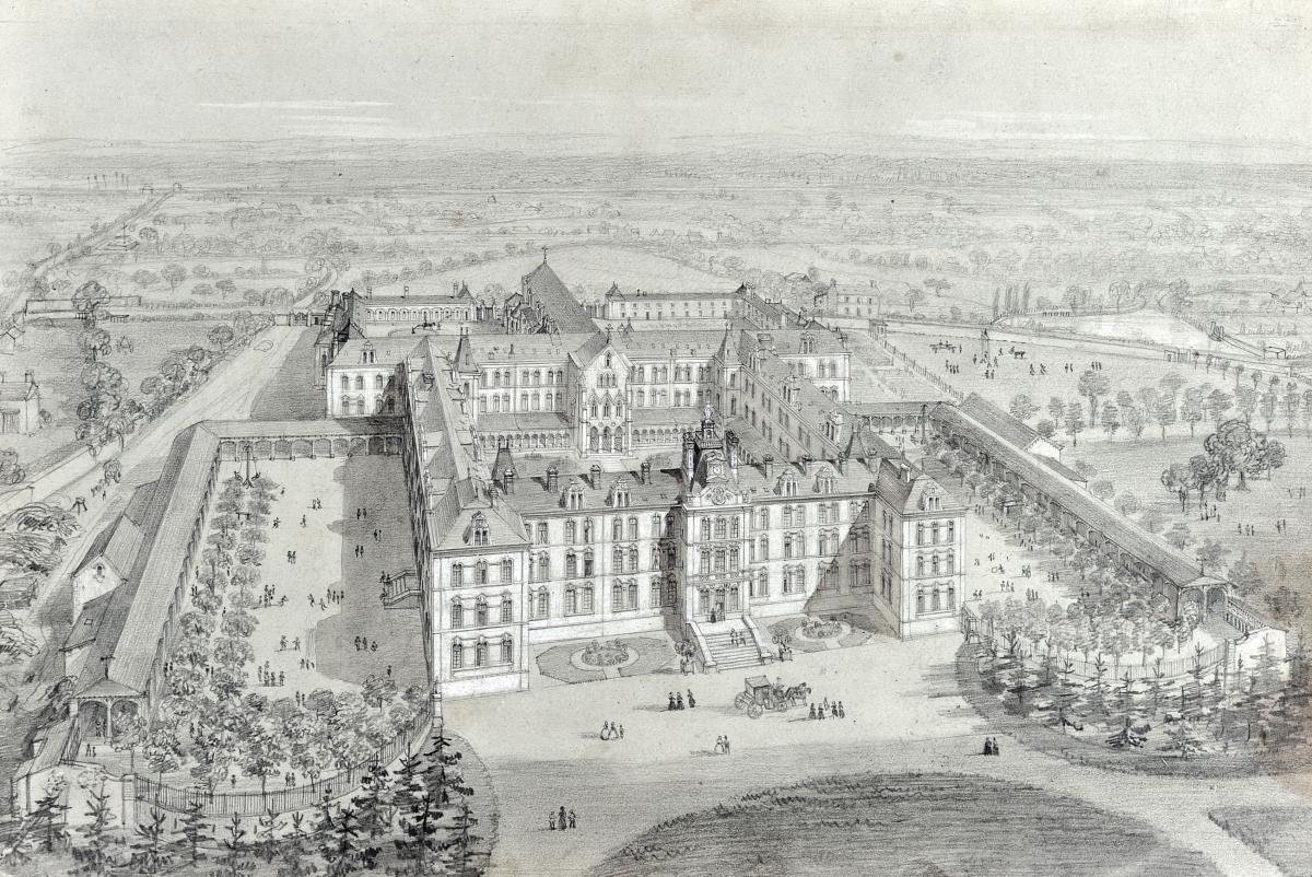 Félix Benoist (1818-1896), Vue d'un château, Mine Graphite
