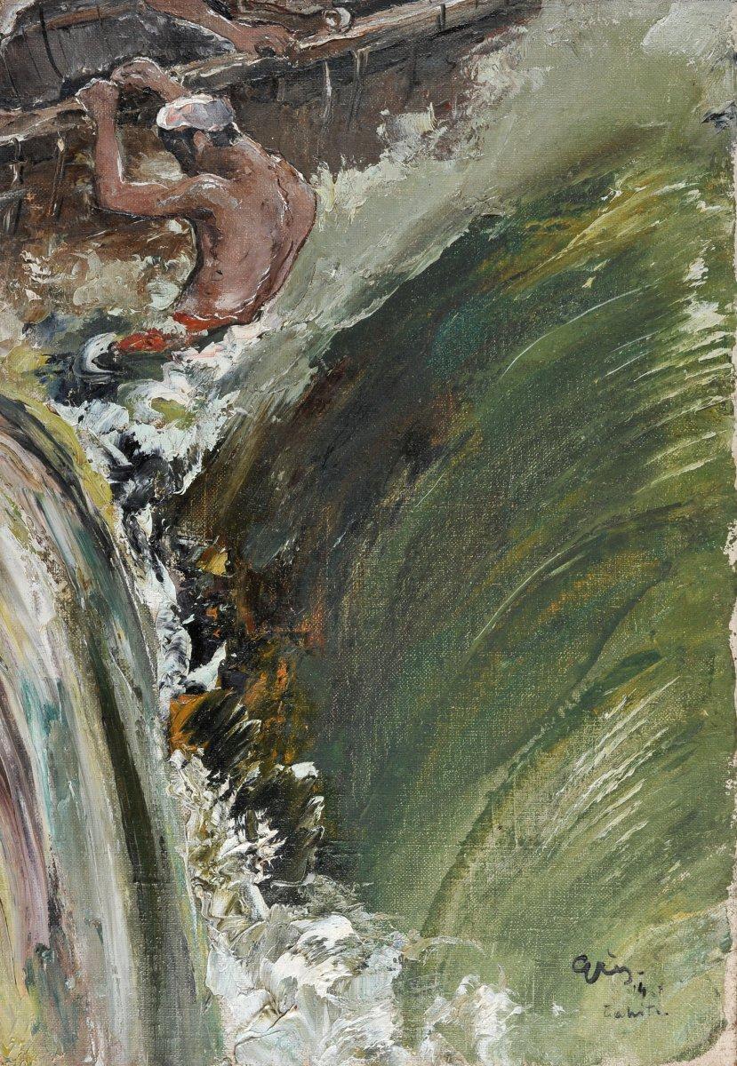 Serge Grès (1899-1970), Tahitien Surfant Sur Une Vague, Huile Sur Toile