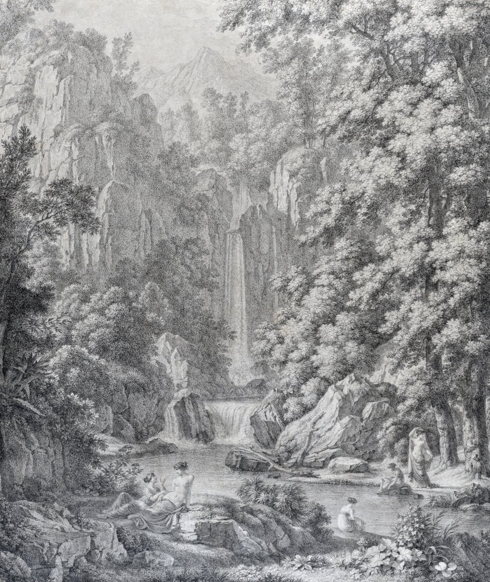 Attributed To Jean-françois HÜe (1751-1823), The Bath Of Diane Near A Waterfall, Lead Pencil