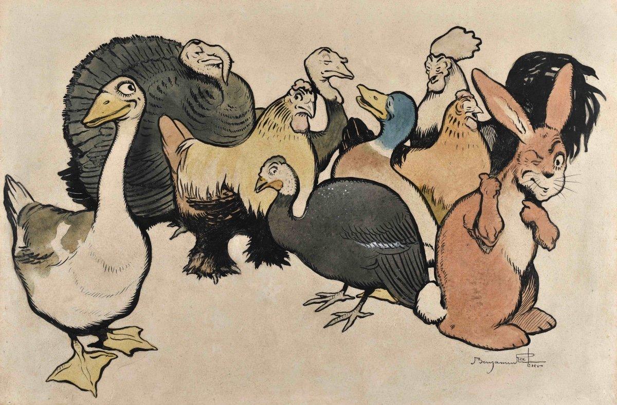 Benjamin Rabier (1864-1939), La Basse-cour merveilleuse, plume et aquarelle, vers 1905