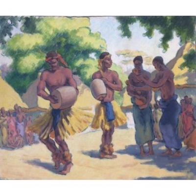 Fernand Collomb (1902-1981),  Dans Africaine, Pastel