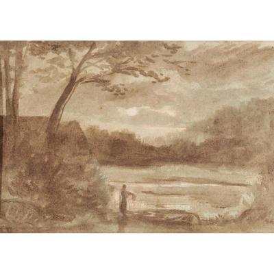 Narcisse Virgile Diaz De La Pena (1807-1876), Paysage à l'étang, Lavis d'Encre