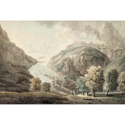 Samuel H. Grimm (1733-1796), Glacier d'Unteraar, Suisse, Aquarelle
