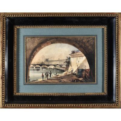 Alexandre Thomas Francia (1815-1884), Le Palais Du Louvre Vu Du Pont Neuf