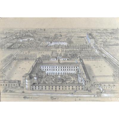 Félix Benoist (1818-1896), Vue d'Un Collège, Environs De Paris, Mine Graphite