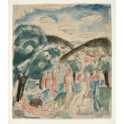 Gilbert Poillerat (1902-1988), Nus Dans Un Paysage (enlèvement d'Europe)