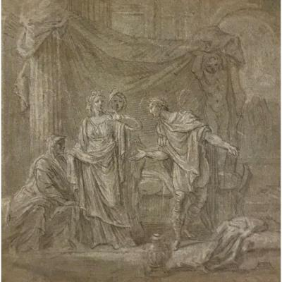 French School, XVIIth Century, Ancient Scene, Pencil And White Chalk Highlights