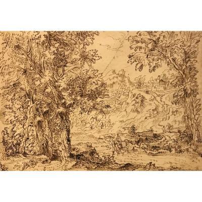 Ecole flamande du XVIIIe Siècle, Paysage d'Italie Avec Cavalier, Plume