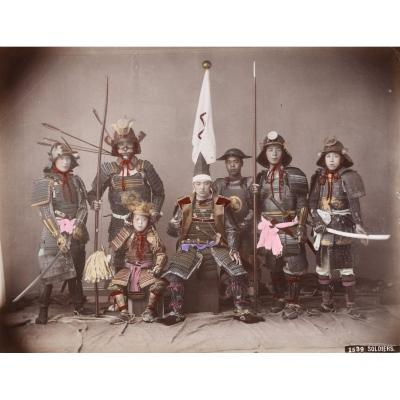 Kusakabe Kimbei (1841-1934) Soldiers (japanese Warriors) Japan, Circa 1880 Albumen Print