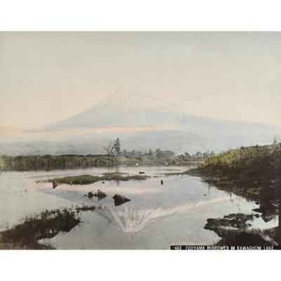 Kusakabe Kimbei (1841-1934) Fuji From Mirrored In Kawaguchi Lake, Japan, Circa 1880