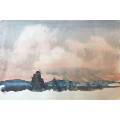 Arthur Charles Kemp (1906-1968), Etude De Ciel, Vers 1961, Aquarelle, 19 X 28 cm