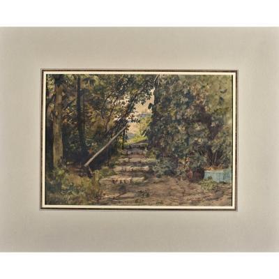 Henri Joseph Harpignies (1819-1916), Au Jardin, 28,2 X 32,1 cm, Signé Et Daté En Bas à Gauche