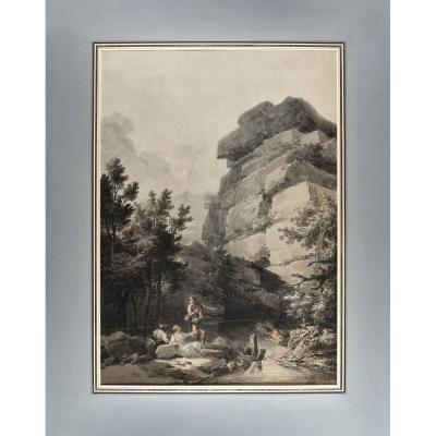 Constantin d'Aix (1756-1844), Paysage animé aux rochers, Plume et lavis d'encre