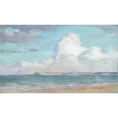 Alfred-Georges Hoën ( 1869-1954) Vue De Deauville, Huile sur carton,1939