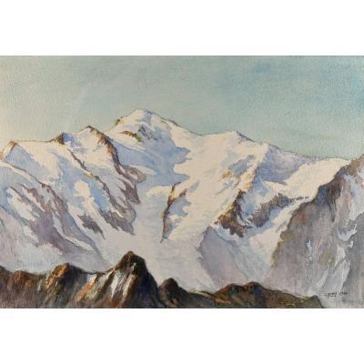 T. Royer (actif XXe Siècle), Vue Du Mont Blanc, Vue Du Buet-matin, Aquarelle