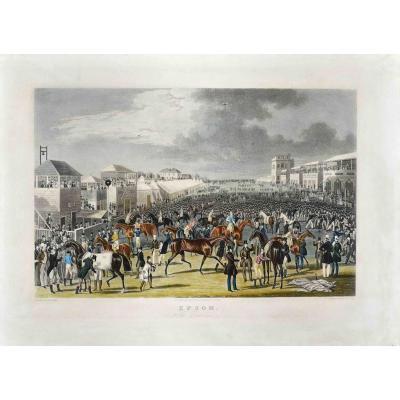 D' après James Pollard (1792-1867)  Epsom. The Race Over  Vers 1836,  Aquatinte