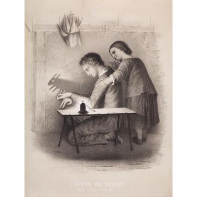 Michele Fanoli (1807-1879), l'Etude Du Dessin, Lithographie, 61 X 46, 5 Cm