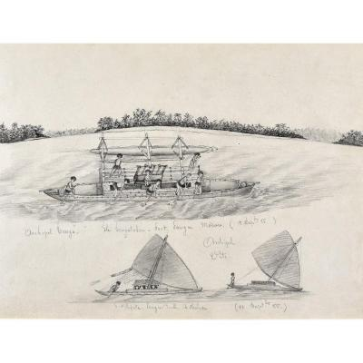 19th Century French School, Study Of Pirogues, Lead Mine