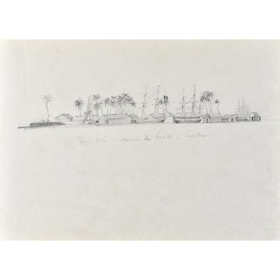 19th Century French School, View Of The Port Of Tahiti, Lead Mine