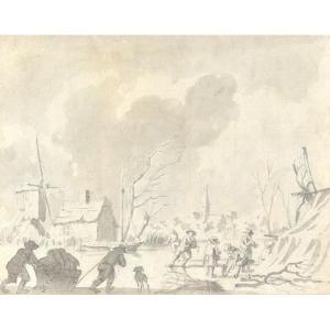 Ecole Hollandaise Du XVIIIe Siècle, Les Patineurs, Crayon Et Lavis d'Encre