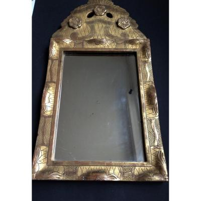 Small Mirror In Golden Wood